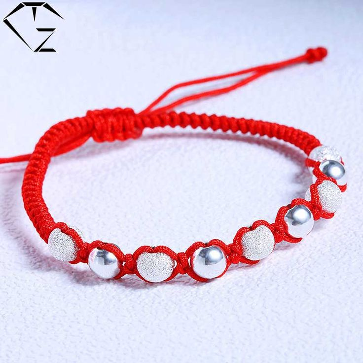 GZ 925 Silver Ball Bead Bracelet 18cm Adjustable Red Thread String S925 Solid Silver Bracelets for Women Jewelry pulseras mujer #Affiliate