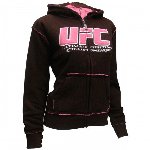 UFC Womens Sherpa Hoodie [Brown/Pink] | UFC Women's Hoodies - UFC Store .... I love this but why is there no effin' size chart?!!?! Jesus