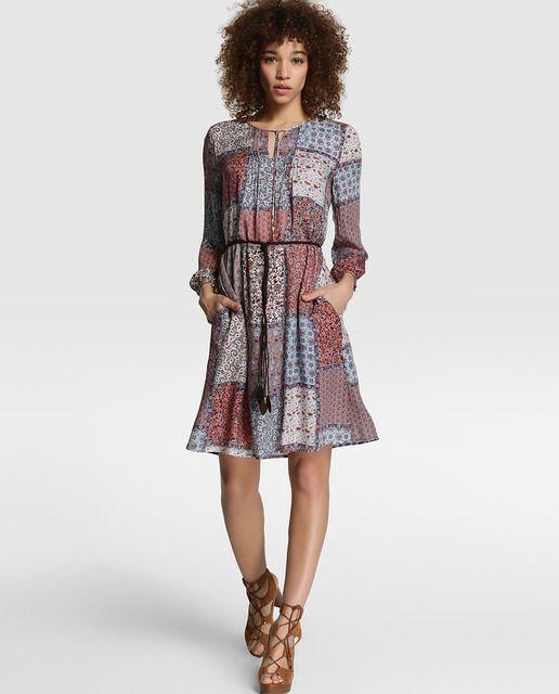 Vestido de mujer Esprit con estampado patchwork y jaretas