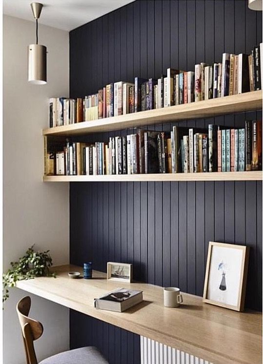 Dark feature wall with natural wood shelving to highlight. beadboard panelling. #officedesignsinspiration