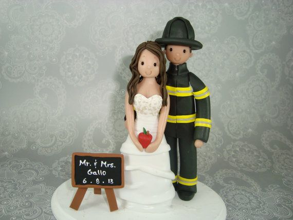 Firefighter & Teacher Personalized Wedding Cake Topper - I'm thinking this would be an awesome anniversary gift!! Where was this when we got married!? :(