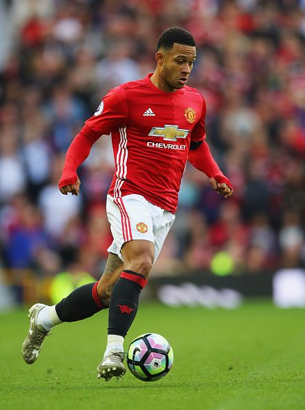 Memphis of Manchester United in action during the Premier League match between Manchester United and Stoke City at Old Trafford on October 2 2016 in...