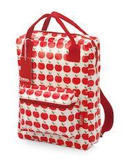 Retro Rucksack für Kinder mit Apfel Motiv. Super verarbeitet, wasserabweisend, mit robusten Reisverschlüssen, verstellbaren Trägern, zwei Griffen, zwei Taschen. Super!
