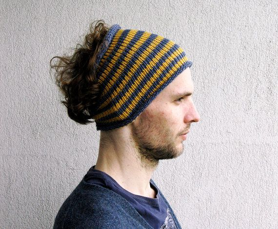 Mens Headband Striped hair wrap Dread band Guys knit hair ... Dreadlock Hats For Men