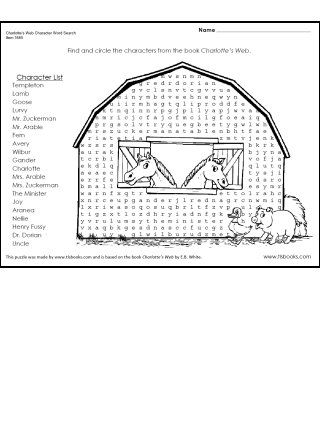Snapshot image of Charlotte's Web Character Word Search Puzzle