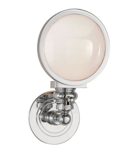 Visual Comfort SL 2935CH-WG E. F. Chapman Casual Boston Head Light Sconce in Chrome with White Glass
