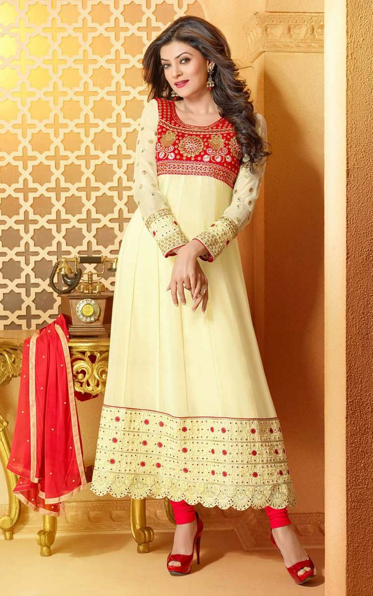 CREAM & RED FAUX GEORGETTE ANARKALI SALWAR KAMEEZ - DIF 29496
