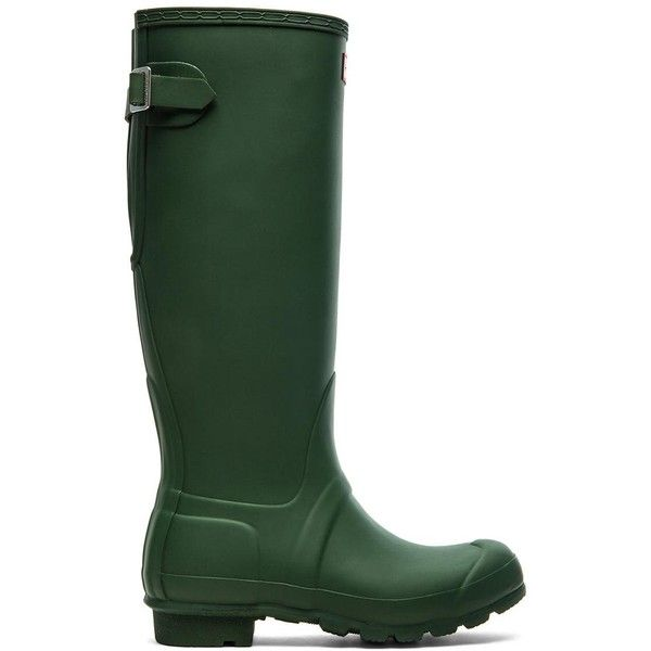 Hunter Original Back Adjustable Rain Boot Shoes ($160) ❤ liked on Polyvore featuring shoes, boots, knee-high boots, short heel boots, rain boots, low heel boots, wellies boots and buckle boots
