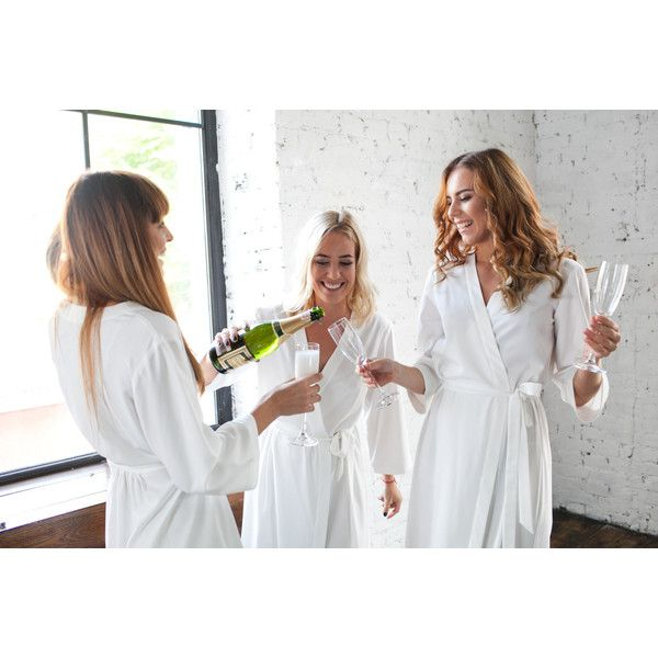 IN STOCK Ivory Robes Bridesmaid Brides Dressing Gown Cream Bridal... (720 UAH) via Polyvore featuring intimates, robes, kimono dressing gown, white bathrobe, white bridal robe, bridal robes and full length bathrobe