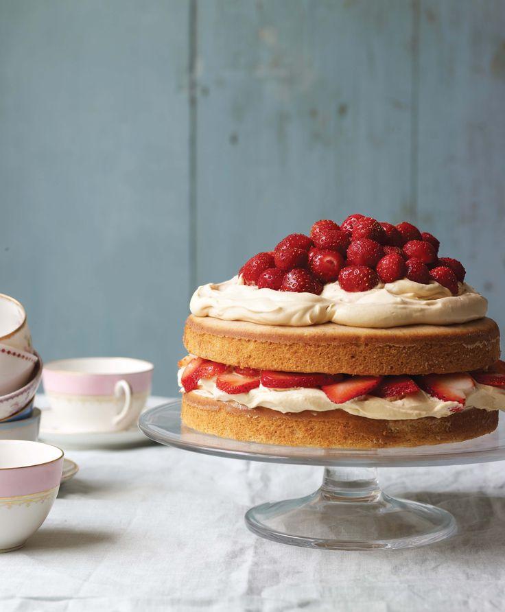 Daphne Oz's strawberry cake. caramel fleur de sel whipped cream frosting.
