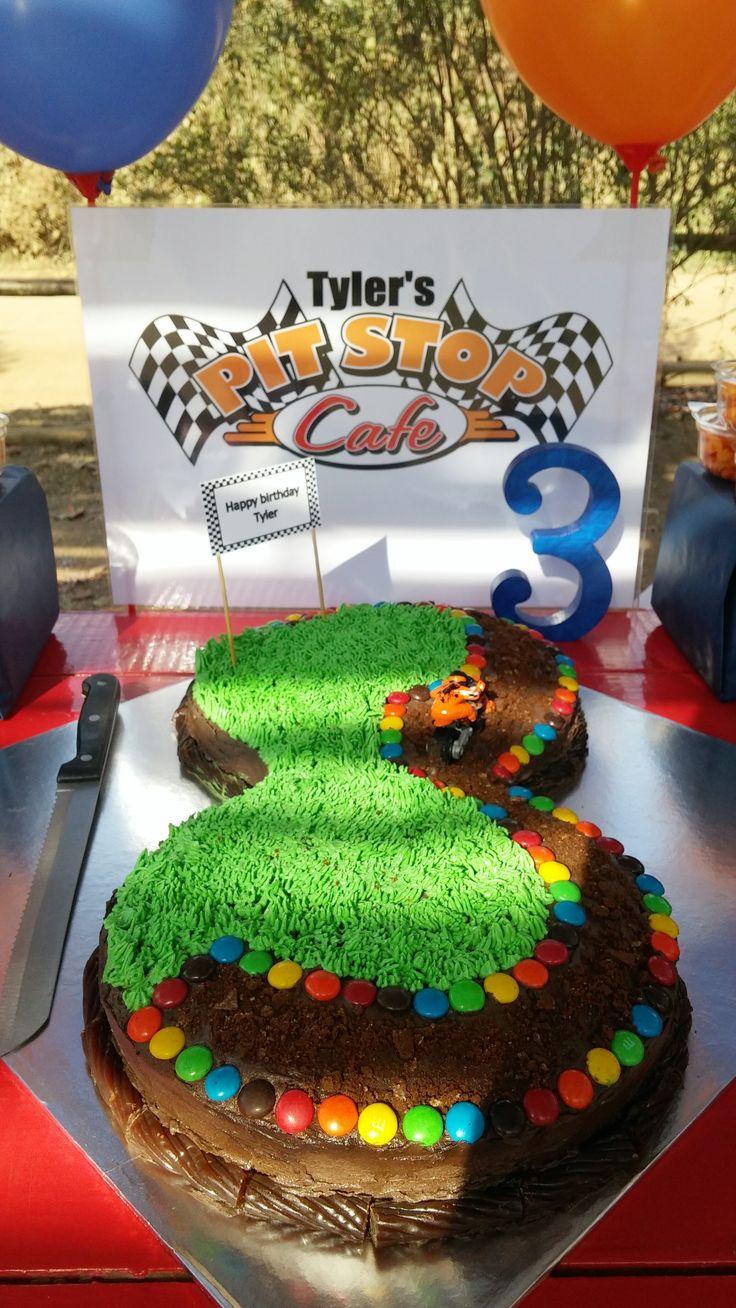 Number 3 cake - motorbike theme