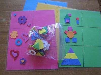 Laminate colored sheets of paper with grids make patterns for Craft ideas using foam sheets