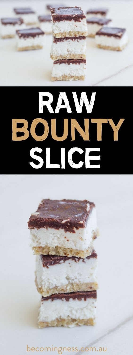 Raw Bounty Slice. This deliciously healthy slice is gluten, dairy and refined sugar free. It is one seriously epic dessert.