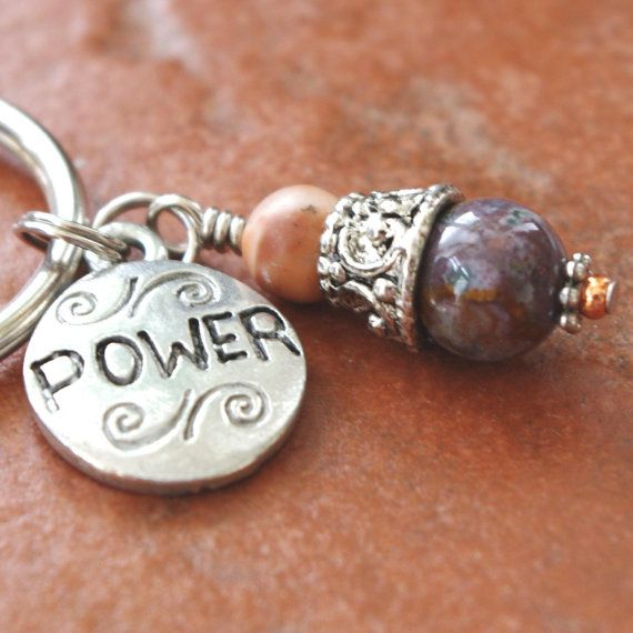 Power Charm with Ocean Jasper Gemstone Pendant Keychain by Angelof2 on Etsy, $8.00 ~ Ocean Jasper is very soothing and helps to love one's self as well as others. It is very healing of the emotions and brings peace of mind. It helps with acceptance of responsibility and increases patience.