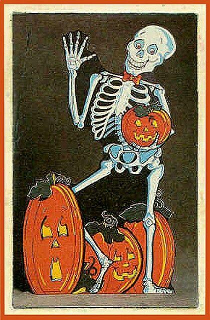 Skeleton And Pumpkins Vintage Halloween Decoration