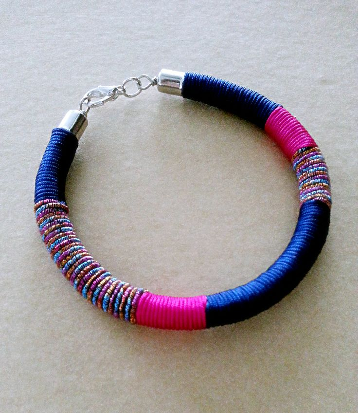Bohemian Thread Wrap Bracelet in Navy Blue and Fuchsia