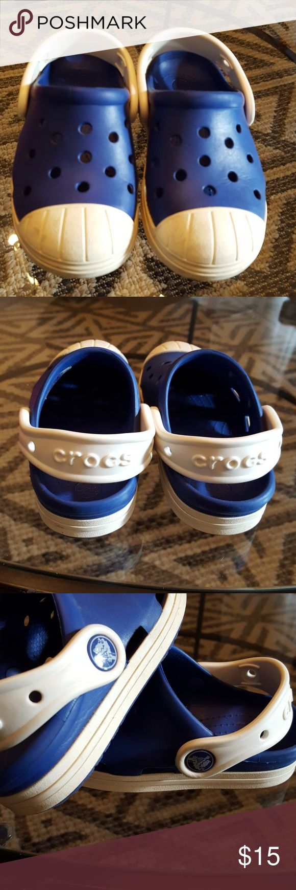 Blue Crocs size 9 kids These Crocs are in excellent condition.  Only worn a few times inside.  Colors are Royal Blue and White.  Perfect for boy or girl.  What a fun way to enjoy Spring and Summer in these durable and stylish shoes. CROCS Shoes Sandals & Flip Flops