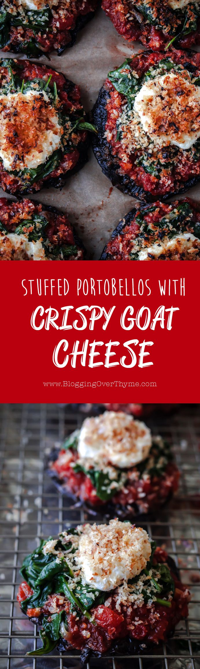 Stuffed Portobello Mushrooms with Crispy Goat Cheese. A delicious vegetarian main course for any day of the week!