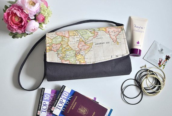 Convertible clutch with world map print Beige and grey purse