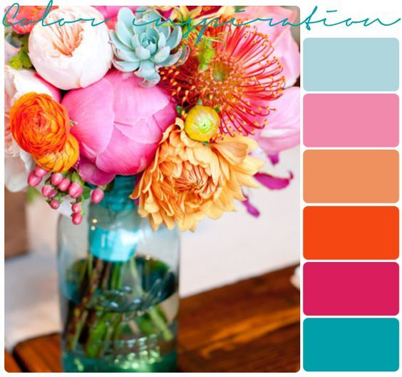 Bright wedding color scheme for Beach Wedding. Tropical wedding color palette.
