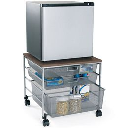 Platinum elfa Mesh Compact Fridge Cart I know this one's expensive, but you could probably find something cheaper elsewhere. Carts like this are great for storage. Fridge on top, food/utensils in drawers. I've used one for my TV, storing all my DVD's and other electronic stuff in the drawers.