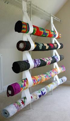 Quilts hung with Sewforever Straps(Click on the thumbnails below for a larger picture.) Sewforever Quilt Storage Products provide an excellent way to safely store your quilts. Sewforever Quilt Storage Products are made of Tyvek, an archival,