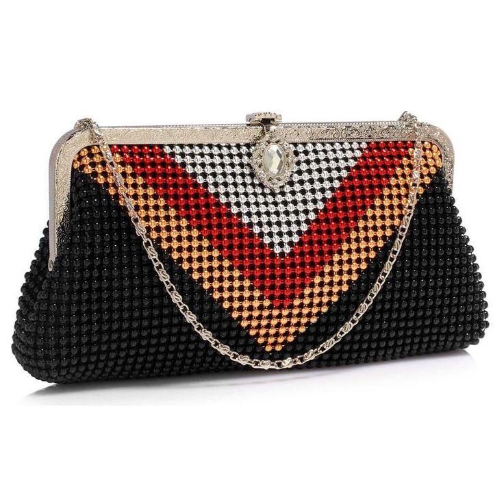 Czarująca torebka wizytowa z kryształem czarny || czerwony || złoty || srebrny | Sklep internetowy Evangarda.pl