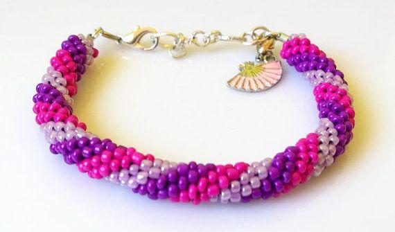 Beaded crochet bracelet small beads violetpink by EmilyArtHandmade