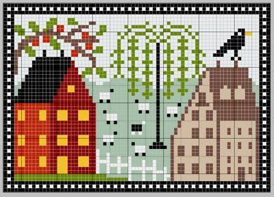House and Village Pattern! You will have to translate the page, but there's a button that will translate it for you at the top right of the page.