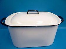 Vintage Usado Blanco Azul Metal Recubierta De Porcelana Horno holandés Olla de utensilios de cocina asar