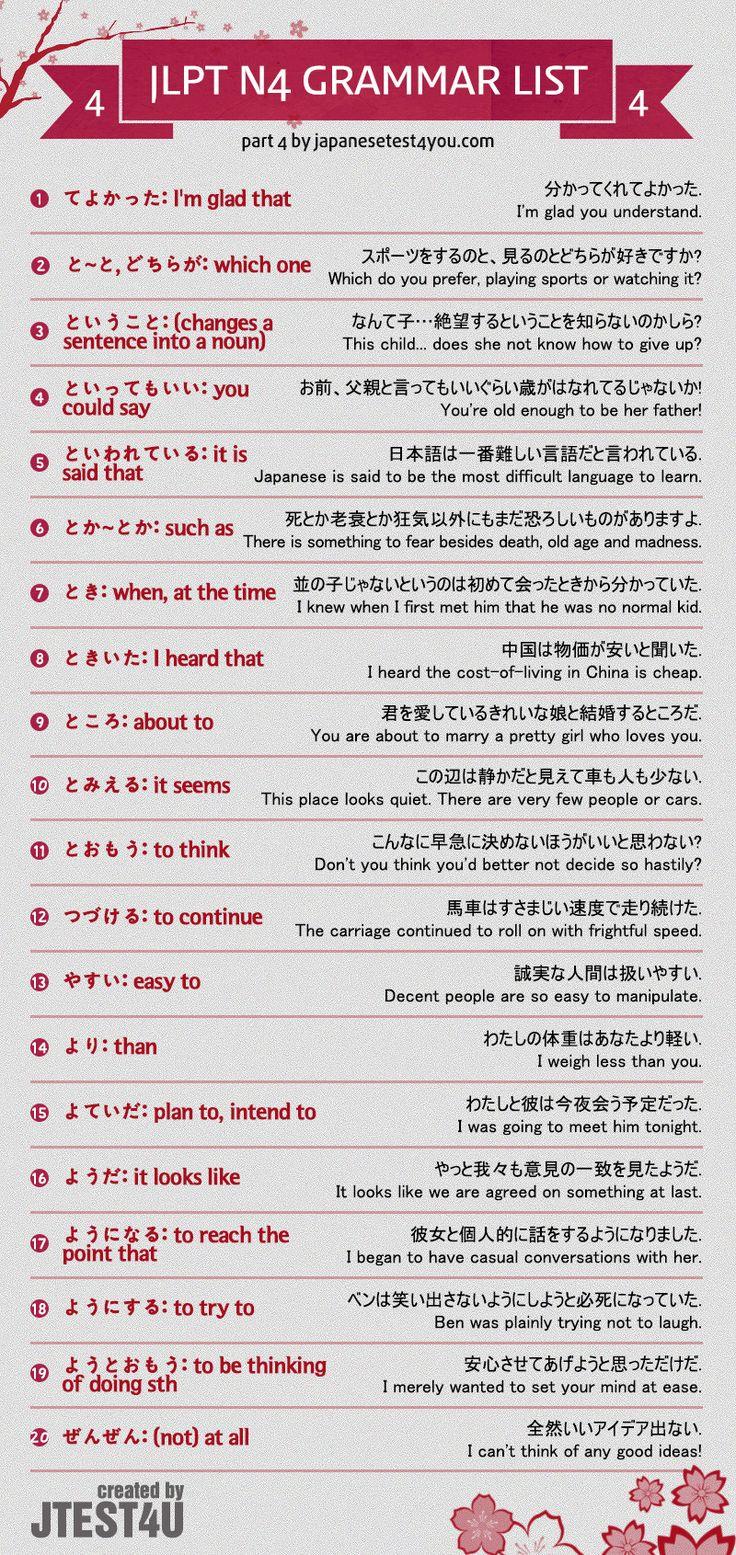JLPT N4 grammar list part 4. http://japanesetest4you.com/jlpt-n4-grammar-list/