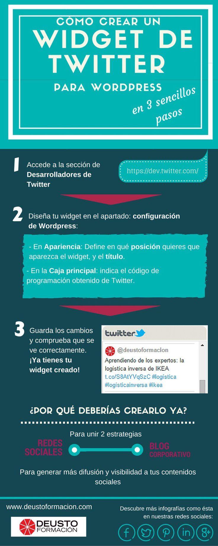 3 pasos para crear un widget de Twitter en WordPress #Infografia #SocialMedia