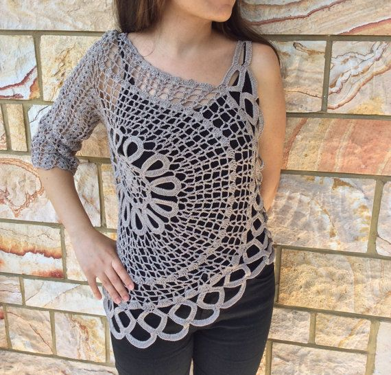 Crocheted One Sleeve Ecru Summer Spring Top, Loose Blouse, Shrug Sweater, Cream Tunic, Ivory Knitwear, Slouchy Beige Shirt Made to Order