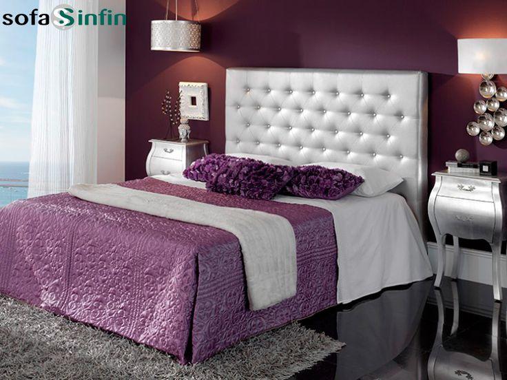 Cabecero de cama tapizado en piel y polipel, modelo Alma fabricado Dupen en Sofassinfin.es