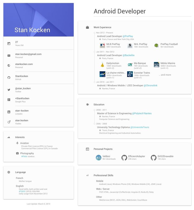 44 best CV \/ Resume images on Pinterest Design resume, Page - android developer resume