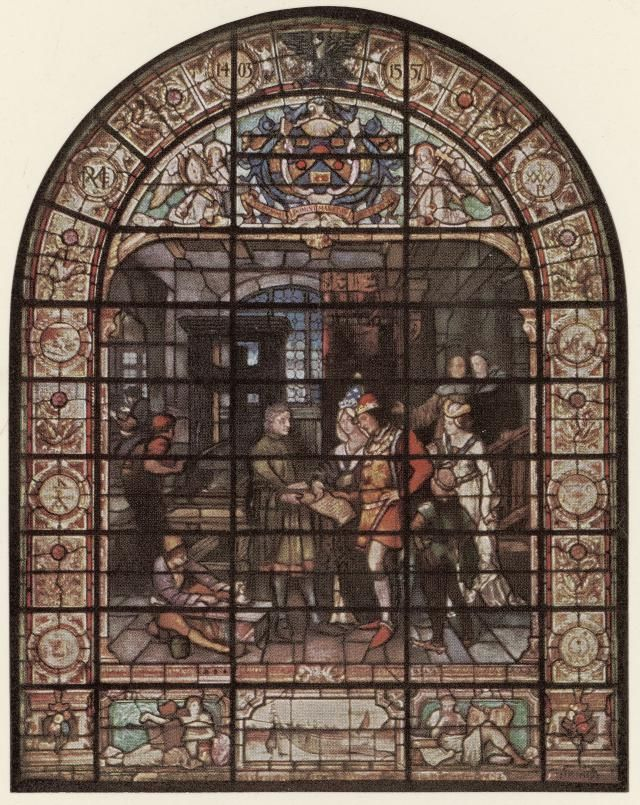 This stained glass window in the Company of Stationers and Newspaper Makers in London, in the north window in the Large Hall, shows William Caxton, printer, presenting a printed page to the King and Queen: Edward IV and Elizabeth Woodville. Caxton (1400s) was probably the person who introduced the printing press into England about 1473, and was the first retailer of printed books in England.