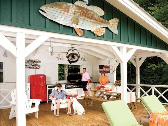 great outdoor kitchen #outdoor #kitchen #poolBig Fish, Adirondack Chairs, Lake Houses, Lakes House,  Eating Places,  Eating House'S, Outdoor Living Room, Outdoor Kitchens, Covers Decks