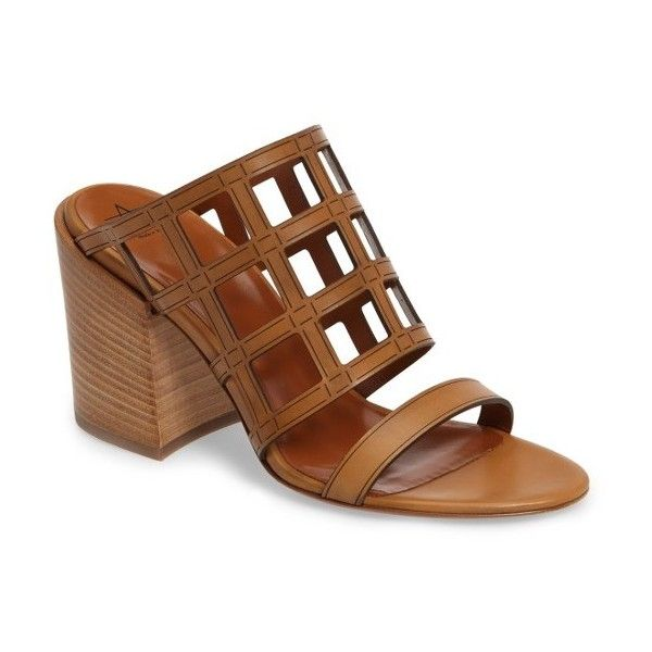 Women's Aquatalia Federica Caged Mule Sandal (820 BGN) ❤ liked on Polyvore featuring shoes, sandals, tan, tan mules, mule sandals, geometric shoes, cage shoes and caged sandals