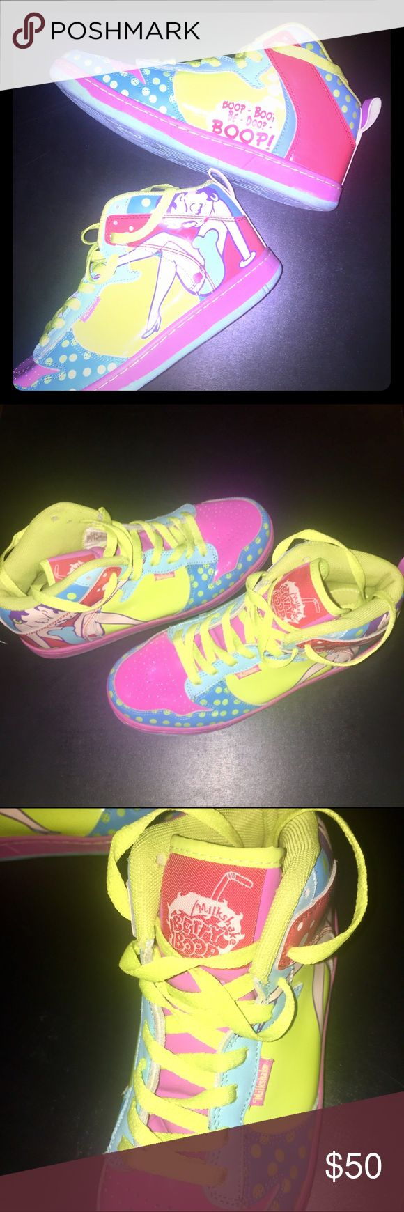 🎈SALE🎈Betty Boop Hightop Sneakers💋 🎈🎈SALE TODAY ONLY🎈🎈 *Price is good until 12pm PT*. Great Christmas Gift! Bright Neon Shades of pink, yellow, blue etc make up this totally unique throwback sneaker! Lace up high tops. Like New! Sz 7. Betty Boop Shoes Sneakers