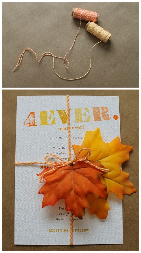 Add silk leaves with bakers twine to your fall wedding invitations!