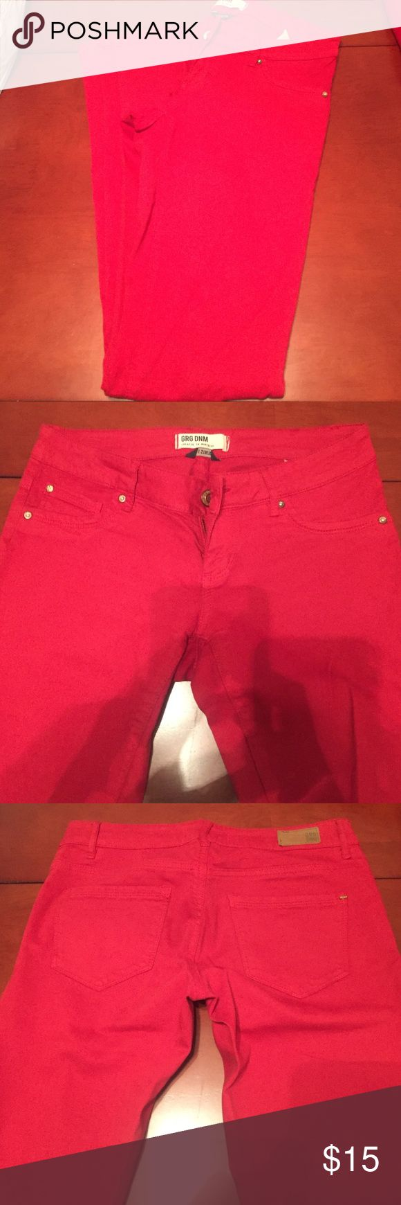 Red Skinny Jeans Stretchy material low rise skinny fit cotton and spandex only worn once size 1, best fits sizes 2-4. garage denim Garage Jeans Skinny