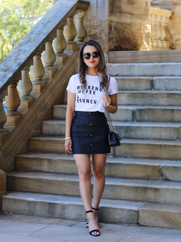 Aje leather skirt outfit