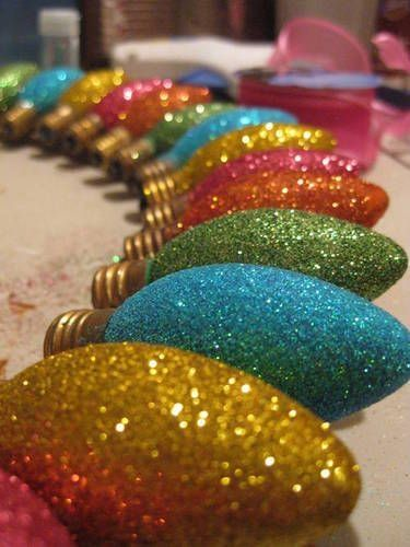 Dip old bulbs in glue & glitter - make into ornaments or garland.  Could even put on rings and use different colors to tag wine glasses.