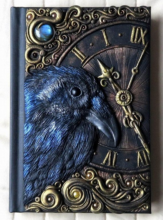 Other side of the Mirror, polymer clay journal, labradorite, fantasy, goth, steampunk, bird, clock, crow, raven, 200 blank pages