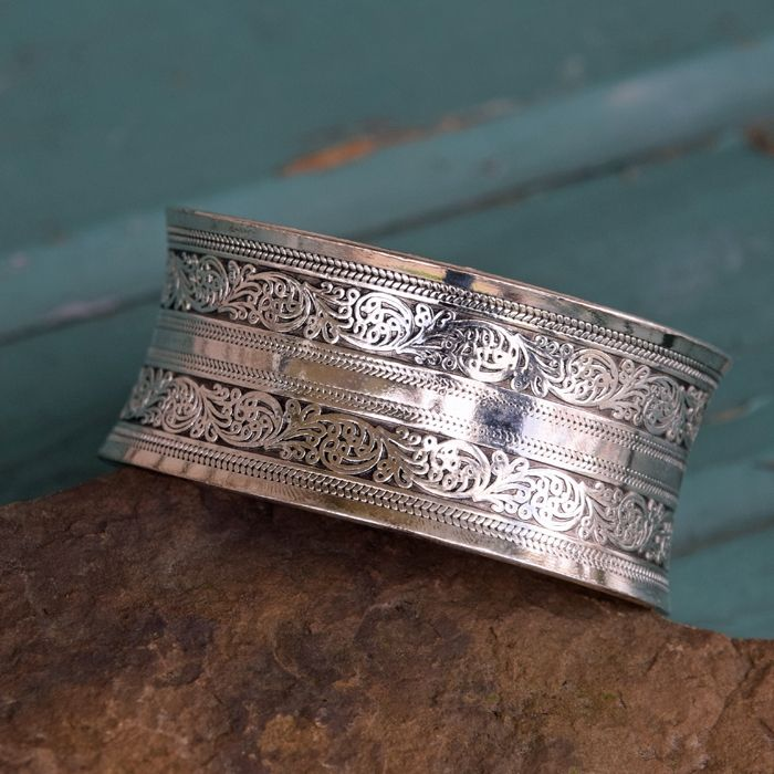 - Engraved Miao Silver Bangle #SP119
