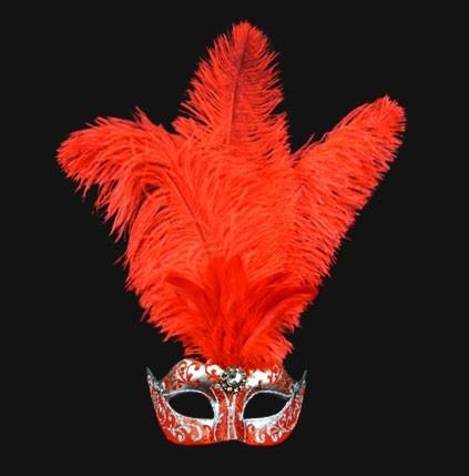 mascara veneciana colombina piume star rojo/plata    mascara veneciana original en color rojo/plata con plumas hecha a mano