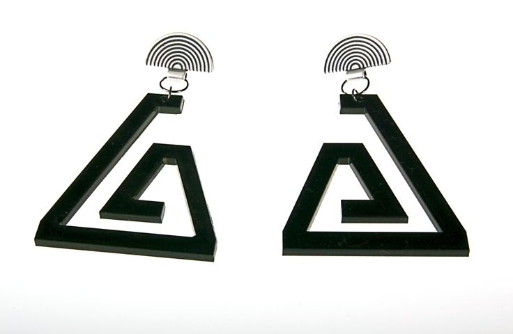 Amanda Loulou - Displèxia Jewellery @ www.fashionlover.gr ... Black earrings, triangular-shaped, made of Plexiglas, by Amanda Loulou - Displèxia Jewellery. They buckle perforated in the ear, with semicircular silver clasps. Ideally for a modern, youthful look!