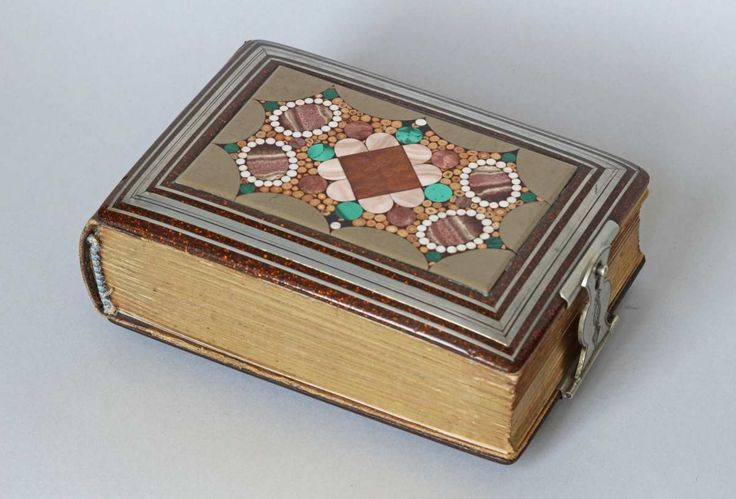 album with a mosaic of aragonite , leather, souvenir from Karlovy Vary, Karlsbad, circa 1890 - 1910 Czech.rep.