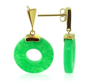 This is a Green Soapstone Donut Drop Earrings crafted in 14 KT Yellow Gold. Not Gold Plated or Overlay. Comes with Secure Post Back Findings in 14K Gold. on the cheap at Gem Avenue Jewelry store Charlotte NC