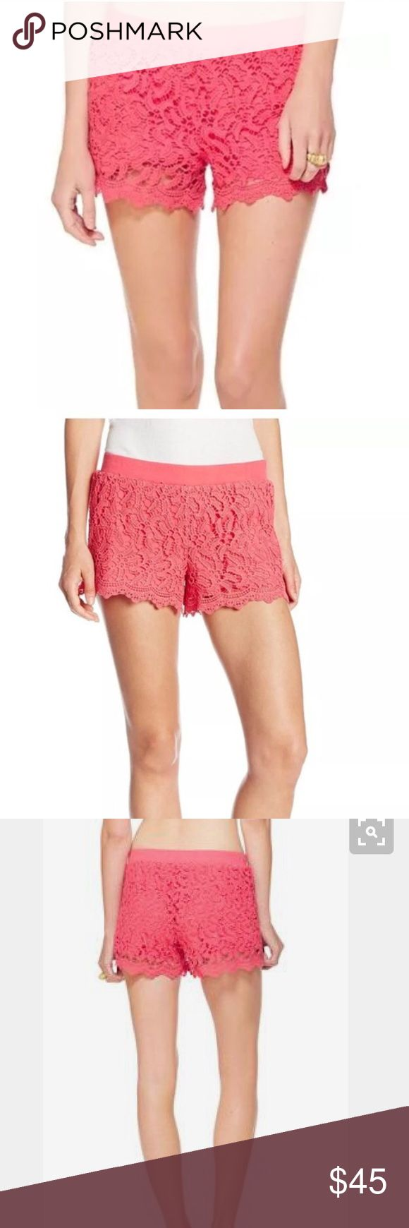 """Lilly Pulitzer pink lace shorts Size large from Lilly Pulitzer , worn once . 31"""" inseam garmet dyed cotton lace pull on short with rib knit waistband. Retails for $118 Lilly Pulitzer Shorts"""